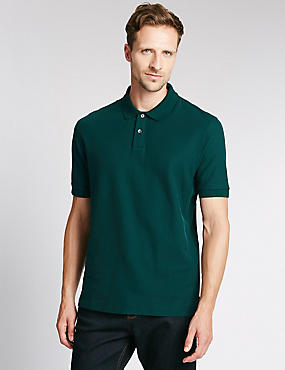 Regular Fit Pure Cotton Polo Shirt with StayNEW™, BOTTLE GREEN, catlanding