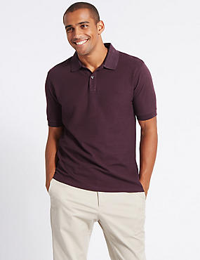 Pure Cotton Polo Shirt, AUBERGINE, catlanding