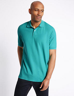 Pure Cotton Polo Shirt, SPEARMINT, catlanding