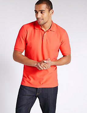 Pure Cotton Polo Shirt, FLAME, catlanding