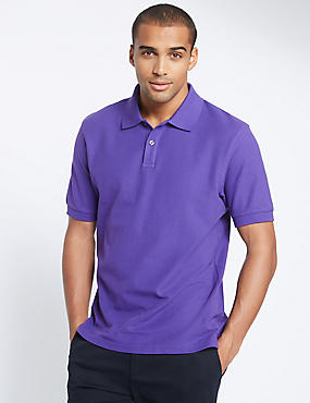 Pure Cotton Polo Shirt, VIOLET, catlanding