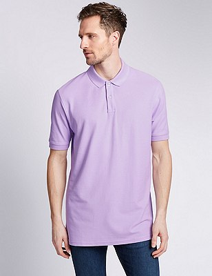 Regular Fit Pure Cotton Polo Shirt with StayNEW™, LILAC, catlanding