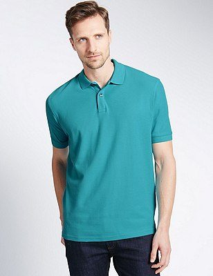 Regular Fit Pure Cotton Polo Shirt with StayNEW™, DARK TURQUOISE, catlanding
