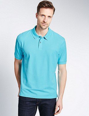Regular Fit Pure Cotton Polo Shirt with StayNEW™, BRIGHT TURQUOISE, catlanding