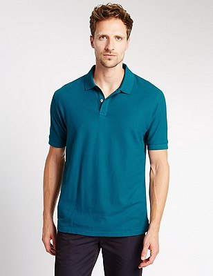 Regular Fit Pure Cotton Polo Shirt with StayNEW™, TEAL GREEN, catlanding