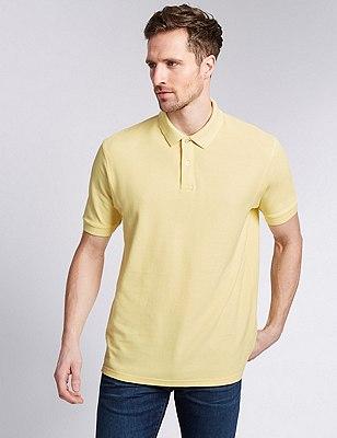 Regular Fit Pure Cotton Polo Shirt with StayNEW™, LEMON, catlanding