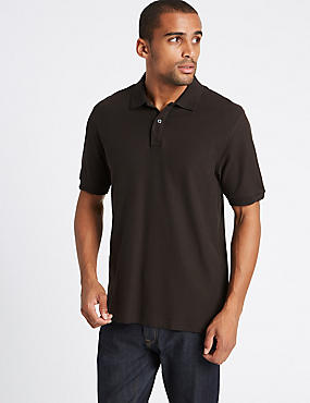 Pure Cotton Polo Shirt, MEDIUM BROWN, catlanding