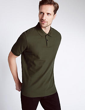Regular Fit Pure Cotton Polo Shirt with StayNEW™, MEDIUM KHAKI, catlanding