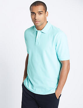 Pure Cotton Polo Shirt, SOFT TURQUOISE, catlanding