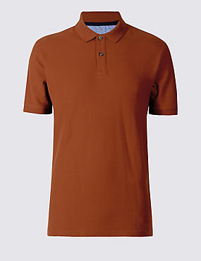 Regular Fit Pure Cotton Polo Shirt with StayNEW™, RUST, catlanding