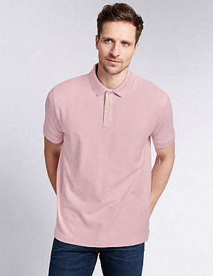 Regular Fit Pure Cotton Polo Shirt with StayNEW™, PALE PINK, catlanding