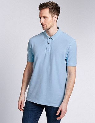 Regular Fit Pure Cotton Polo Shirt with StayNEW™, PALE BLUE, catlanding
