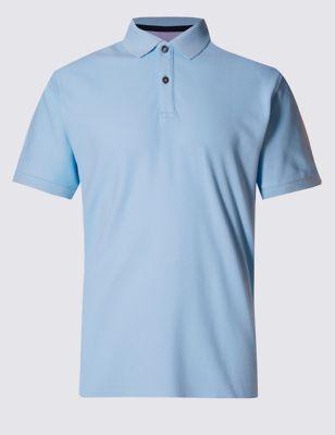 Слегка приталенная рубашка-поло из чистого хлопка StayNEW™