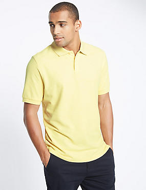 Pure Cotton Polo Shirt, YELLOW MIX, catlanding