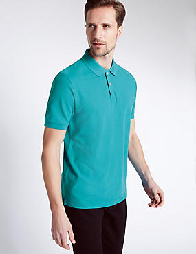 Regular Fit Pure Cotton Polo Shirt with StayNEW™, LIGHT TEAL, catlanding