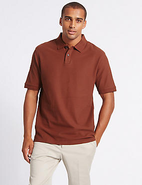 Pure Cotton Polo Shirt, RUSSET, catlanding