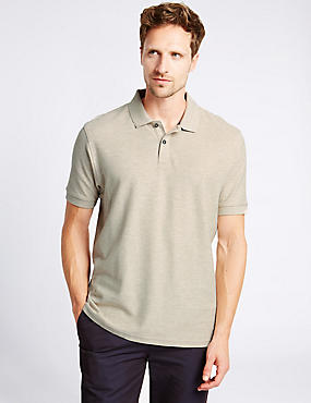 Regular Fit Pure Cotton Polo Shirt with StayNEW™, STONE MIX, catlanding