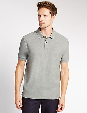 Regular Fit Pure Cotton Polo Shirt with StayNEW™, GREY MIX, catlanding
