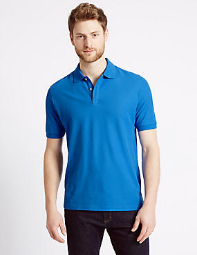 Pure Cotton Polo Shirt, AEGEAN BLUE, catlanding