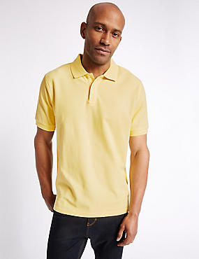 Pure Cotton Polo Shirt, BUTTERCUP, catlanding