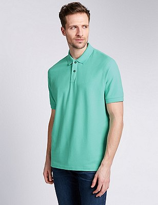 Regular Fit Pure Cotton Polo Shirt with StayNEW™, MINT, catlanding