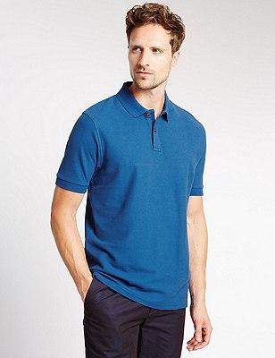 Regular Fit Pure Cotton Polo Shirt with StayNEW™, INDIGO, catlanding