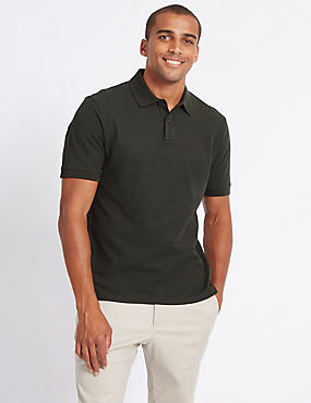 Pure Cotton Polo Shirt, DARK KHAKI, catlanding