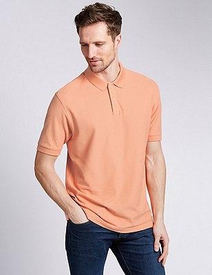 Regular Fit Pure Cotton Polo Shirt with StayNEW™, LIGHT ORANGE, catlanding