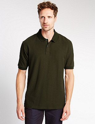 Regular Fit Pure Cotton Polo Shirt with StayNEW™, FERN GREEN, catlanding