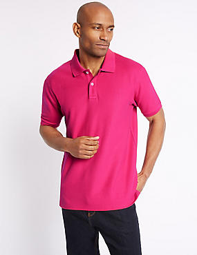 Slim Fit Pure Cotton Polo Shirt, BRIGHT PINK, catlanding