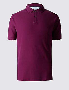 Slim Fit Polo Pure Cotton Shirt with StayNEW™, RASPBERRY, catlanding