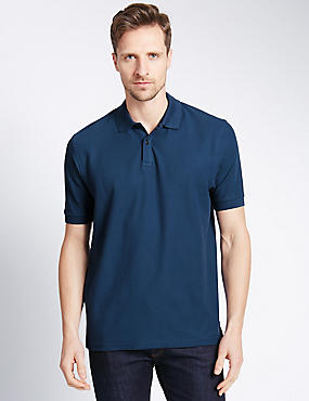 Slim Fit Polo Pure Cotton Shirt with StayNEW™, DARK DENIM, catlanding