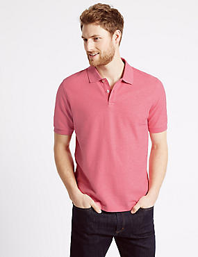 Slim Fit Pure Cotton Polo Shirt, SOFT PINK, catlanding