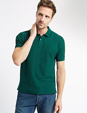 Slim Fit Polo Pure Cotton Shirt with StayNEW™, BOTTLE GREEN, catlanding