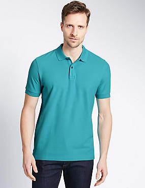 Slim Fit Polo Pure Cotton Shirt with StayNEW™, , catlanding