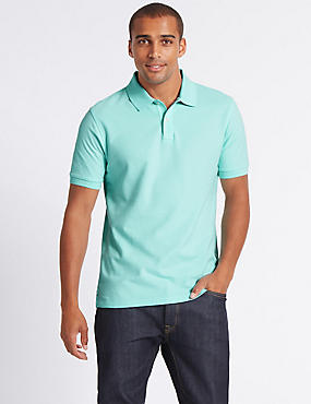 Slim Fit Pure Cotton Polo Shirt, SOFT TURQUOISE, catlanding