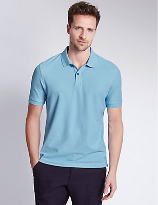 Slim Fit Pure Cotton Polo Shirt, PALE BLUE, catlanding