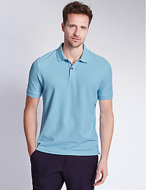 Slim Fit Polo Pure Cotton Shirt with StayNEW™, PALE BLUE, catlanding