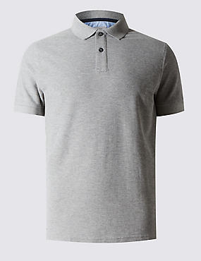 Slim Fit Polo Pure Cotton Shirt with StayNEW™, GREY MIX, catlanding