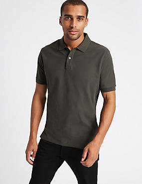 Slim Fit Pure Cotton Polo Shirt, DARK KHAKI, catlanding