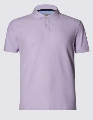 Слегка приталенная рубашка-поло StayNEW™ из чистого хлопка