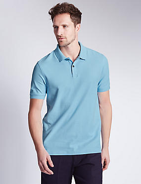 Tailored Fit Pure Cotton Polo Shirt, PALE BLUE, catlanding