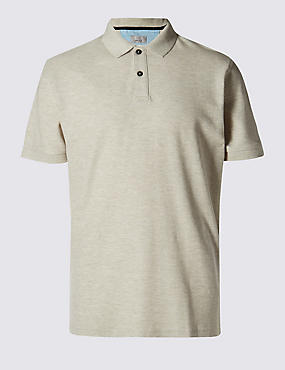 Tailored Fit Pure Cotton Polo Shirt, STONE MIX, catlanding