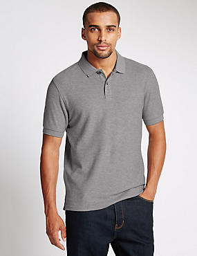 Tailored Fit Pure Cotton Polo Shirt, GREY MIX, catlanding