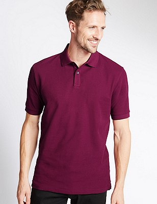 Big & Tall Pure Cotton Polo Shirt with StayNEW™, RASPBERRY, catlanding