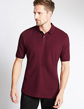 Big & Tall Pure Cotton Polo Shirt with StayNEW™, DARK WINE, catlanding