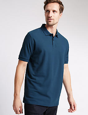 Pure Cotton Polo Shirt with StayNEW™, DARK DENIM, catlanding