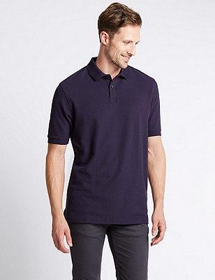 Big & Tall Pure Cotton Polo Shirt with StayNEW™, DARK PURPLE, catlanding