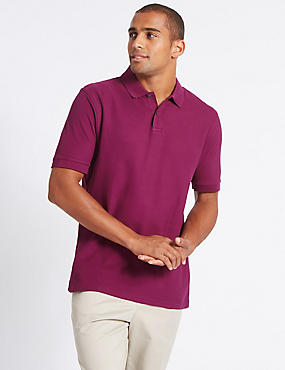 Pure Cotton Polo Shirt, DARK BERRY, catlanding
