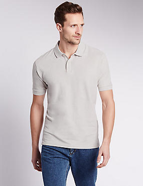 Pure Cotton Polo Shirt with StayNEW™, ECRU MIX, catlanding
